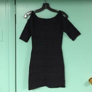 La Cite Bandage Black Cold Shoulder Spandex Dress