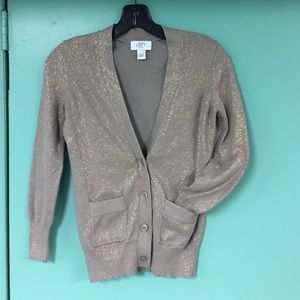 Ann Taylor Sweaters - Ann Taylor Loft Petites Taupe & Bronze Cardigan