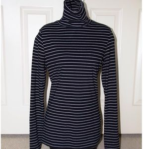 Merona Sweaters - Black and White Striped Stretchy Sweater Turtlenec