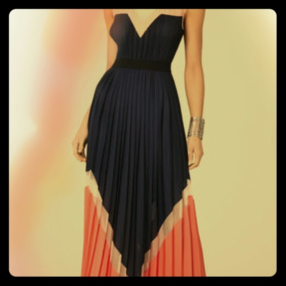 4e03d262e0b4 BCBGMaxAzria Dresses | Bcbgmax Katherine Pleated Colorblocked Long ...