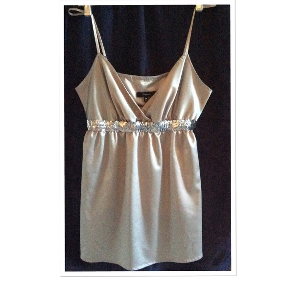 50% off Express Tops - Silver Sequin Silk Tank Top from ...