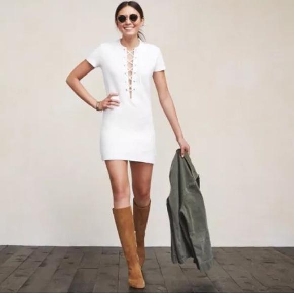 Reformation white lace up Caroline mini dress