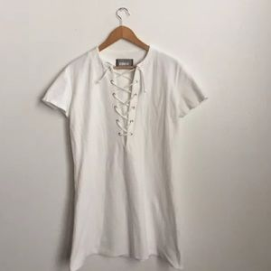 Reformation Dresses - Reformation white lace up Caroline mini dress