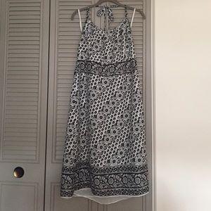 NWT Ann Taylor Loft navy/white halter dress - 16P
