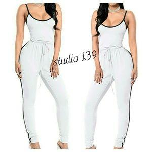Pants - White with blk strap romper pant suit
