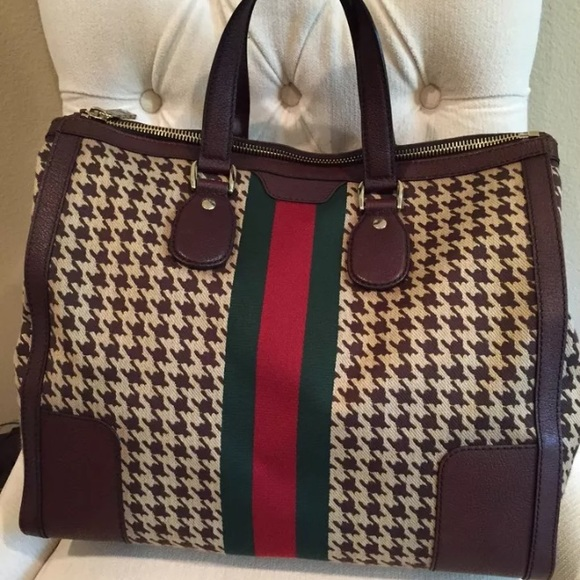 58bf9c47587 Gucci New Seventies Houndstooth Stripe Satchel