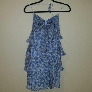 Zara Silk Floral Ruffle Dress