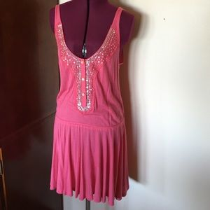 Free People Pink Silver Sequin Top Dress XS