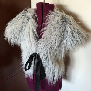 Gray Fur Shrug Bolero Jacket
