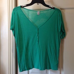 Green button front shirt