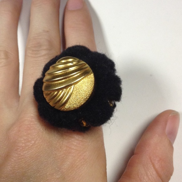 Vintage Jewelry - Fuzz Poof Bead Button Cocktail Ring