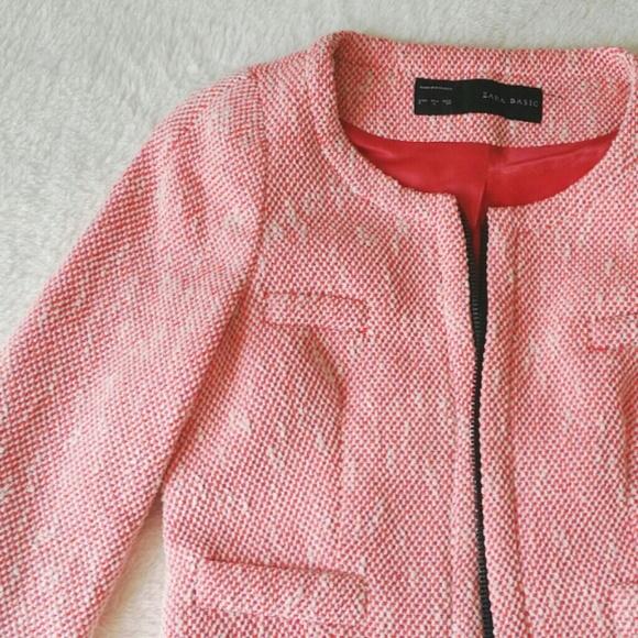 0628393f Zara Jackets & Coats | Chanel Style Pink Boucle Jacket | Poshmark
