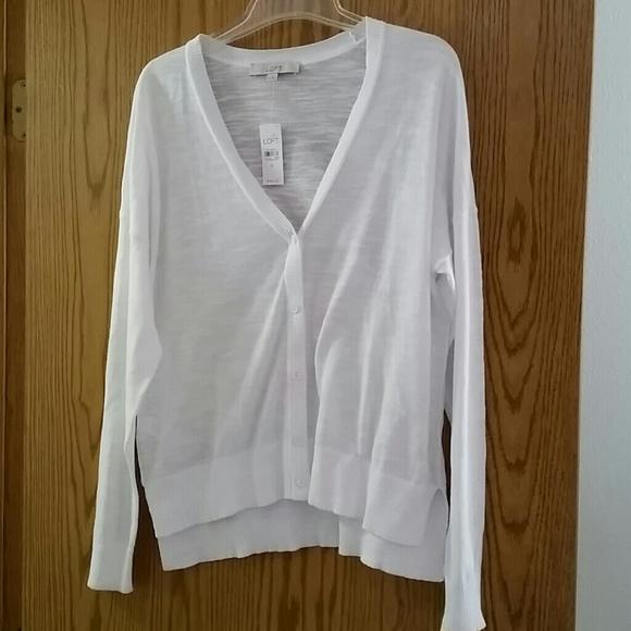 69% off LOFT Sweaters - Loft Sheer White Cardigan from Jennifer's ...