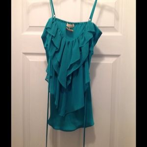 Forever 21 Teal colored ruffle tank