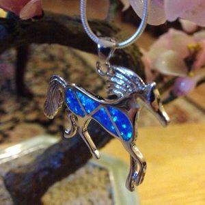 Vintage fire-opal horse necklace