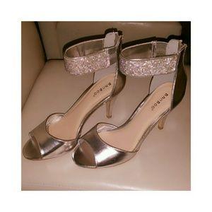 Silver Zip up Heels