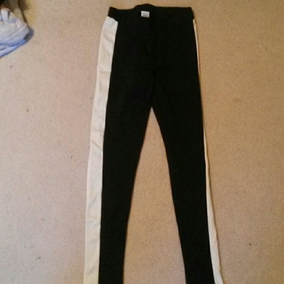 Charming Charlie Pants Black Leggings With A White