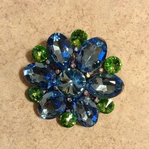 Jewelry - Brand New Flower pin with Blue & Green Crystals