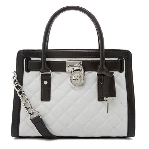 Michael Kors Black   White Quilted Tote Bag 37bc77f256f3d