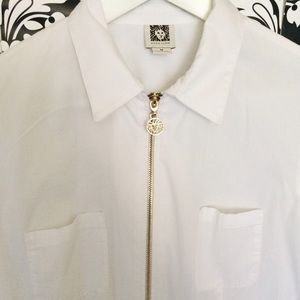 Anne Klein - AK gold zipper white shirt from Vintage's closet on ...