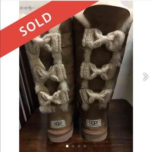 07cc9eec452 UGG Shoes | Iso Tall Bailey Triple Bow Boots Trade | Poshmark
