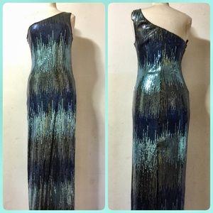 曆曆Blue Sequin Ombré 1 Shoulder Dress Size L曆曆