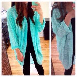 ❗️LAST ONE❗️Mint Batwing High Low Cardigan Sweater
