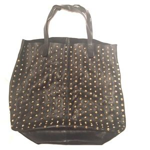 Zara 100% leather studded tote bag in black