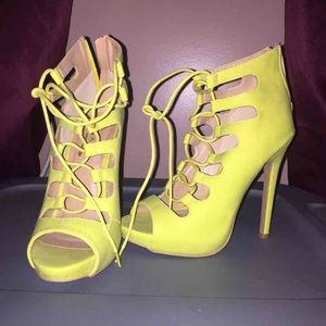 Lime green lace up heels