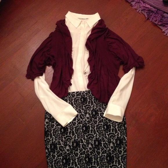 86% off Shu Shu Sweaters - 👗Lovely short sleeve ruffle cardigan ...