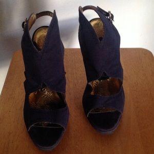 Apple Bottoms Shoes - Apple Bottom Blue/Navy Platform Slingback Heels