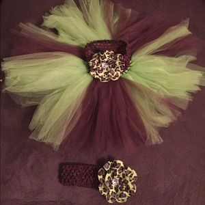 Dresses & Skirts - Mint green and brown tutu with matching headband