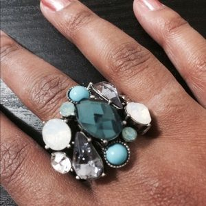 Jewels and Stones Blue & Silver Statement Ring