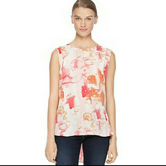 0335fcaf10e53d NWT CALVIN KLEIN JEANS Abstract Print High-Low Top