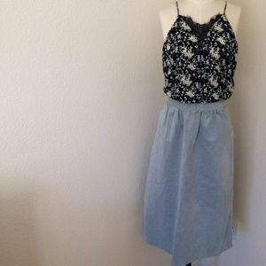 """Suede """"A-Line"""" midi skirt"""