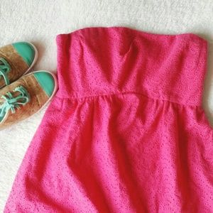 Tibi Dresses & Skirts - {tibi} hot pink eyelet romper dress