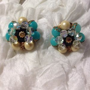 Vintage Cluster Clip-On Earrings