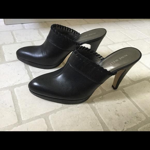 Nine West Black High Heel Clogs Mules