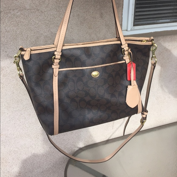 6e65549f8a Coach leather tote with removable long strap