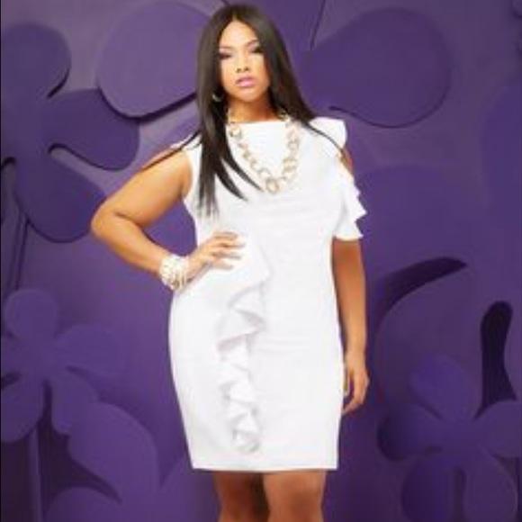 6899cc9b157 Ashley Stewart Dresses   Skirts - Plus Ashley Stewart White Ruffle Front  Dress