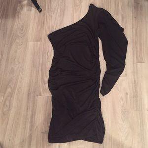 One Shoulder Black Rouched Dress