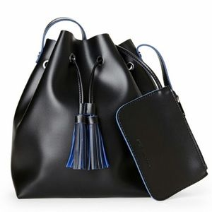 Steve Madden Black & Blue Tassel Bucket Bag