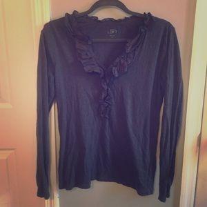 LOFT Tops - Long sleeve ruffle shirt