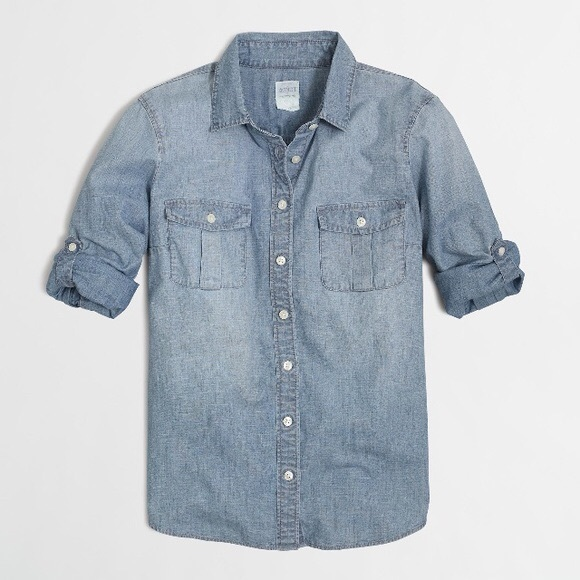 9f678062a J. Crew Tops | Bundle Jcrew Chambray Perfect Shirt And Sunnies ...
