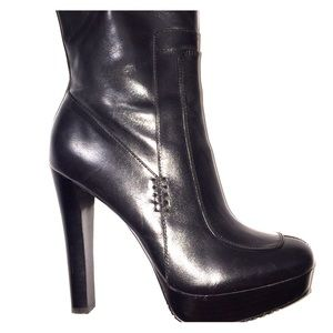Calvin Klein black leather calf boot heels 7.5