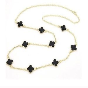Jewelry - Arpel black clover necklace long gold chain trendy