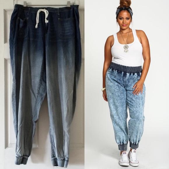 Plus Size Acid Wash Jogger Jeans