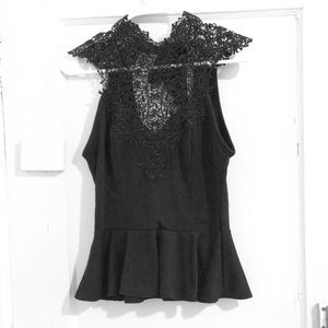 Tops - Lace high neck peplum top