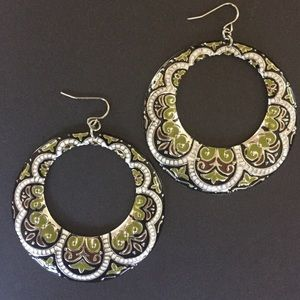 "Bohemian 2.5"" metal Hoop Earrings."