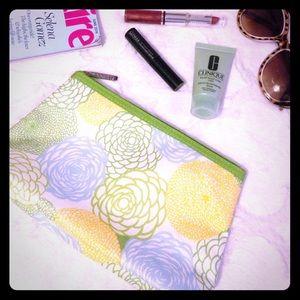 Clinique Handbags - CLINIQUE Green Floral Cosmetic Bag